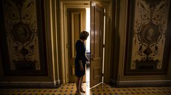 Senator Lisa Murkowski outside the room where a bipartisan group of Senators and White House officials were holding negotiations over the Biden administrations proposed infrastructure plan.