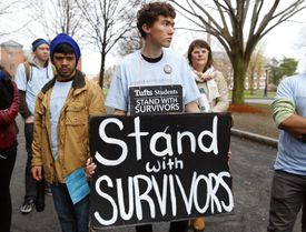 Miles Grover was among 100 students who rallied at Tufts University to demand the school do more to keep students safe.