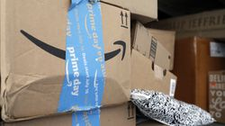 Amazon Prime packages sat in a delivery truck before being unloaded in Miami, Fla.