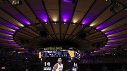 An image of the late Kobe Bryant is displayed on the scoreboard as the New York Knicks honor his induction into the Basketball Hall of Fame before an NBA basketball game against the Charlotte Hornets at Madison Square Garden, Saturday, May 15, 2021, in New York.
