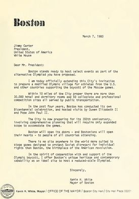 Mayor White's proposal to Jimmy Carter for the 1980 Freedom Games.