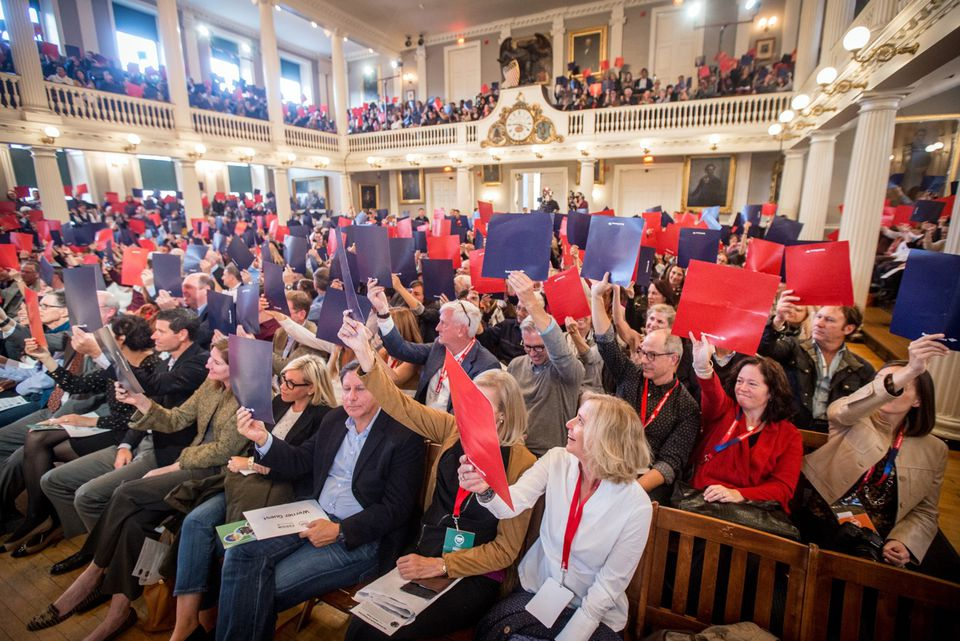 """HUBweek attendees participate in last year's """"Faneuil Forum."""""""
