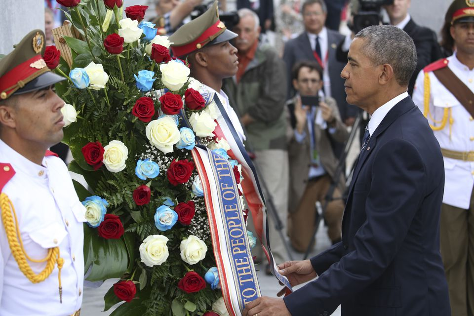 President Obama placed a wreath at the Jose Marti Monument in Havana's Revolution Square Monday.