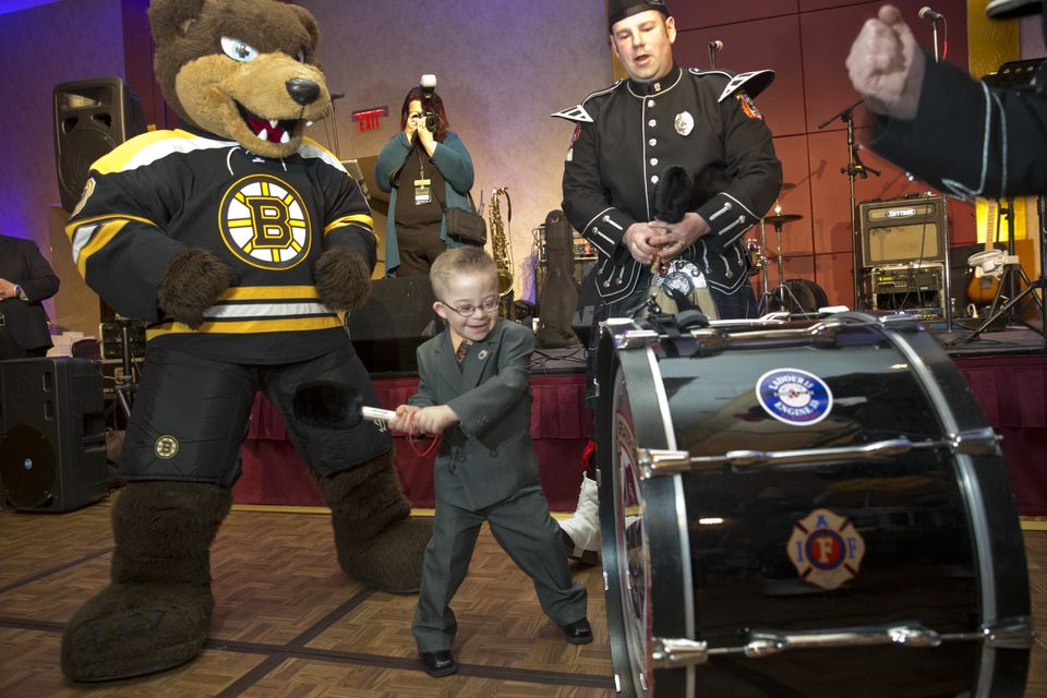 Liam Fitzgerald, who has been treated for leukemia and has Down syndrome, has been a special inspiration to the Bruins.