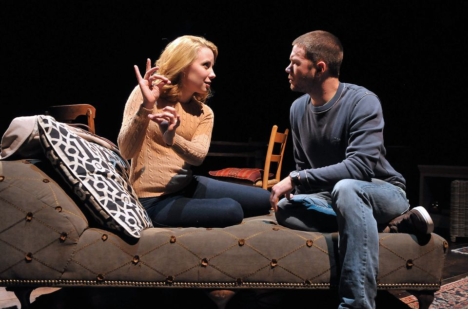 """Erica Spyres and James (Joey) Caverly in SpeakEasy Stage Company's """"Tribes."""""""