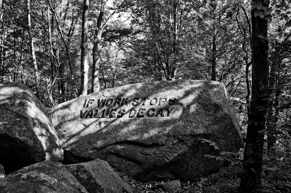 Look for inspirational sayings carved in rocks on the Dogtown trails.