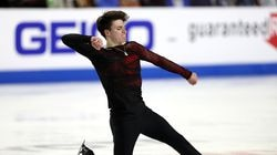 Maxim Naumov is shown competing in the US Championships in Las Vegas in January, in which he finished fifth.