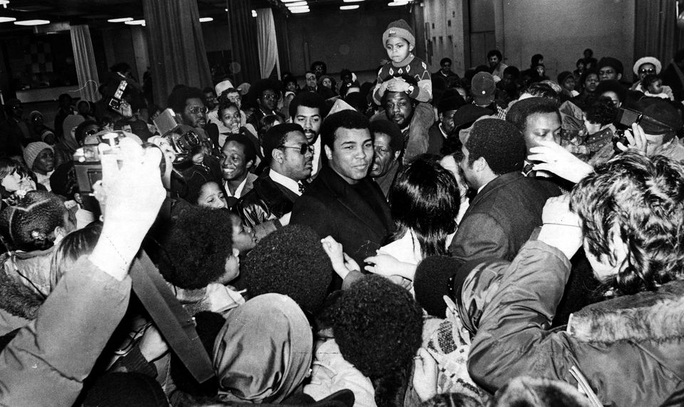 Muhammad Ali was mobbed by fans at Hynes Auditorium during his 1977 visit to Boston.