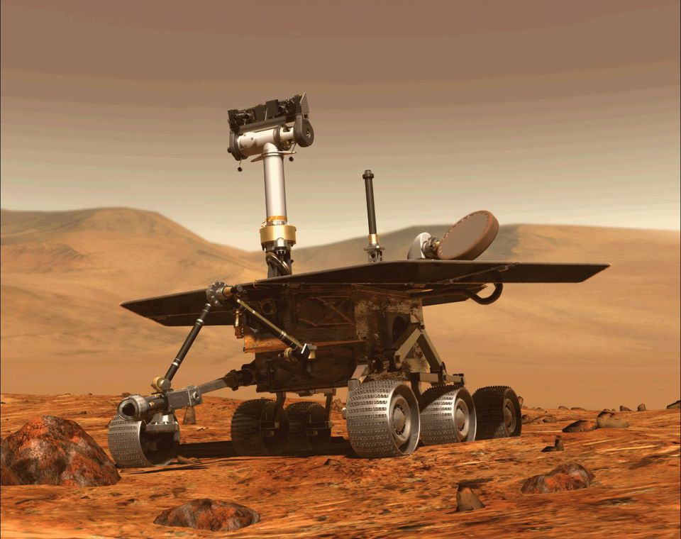 A computer generated image shows the Opportunity rover of NASA.