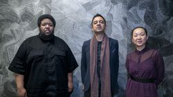"""Vijay Iyer (center), with Tyshawn Sorey and Linda May Han Oh. The trio carried the momentum of a late 2019 performance in Cambridge into the recording studio for """"Uneasy."""""""