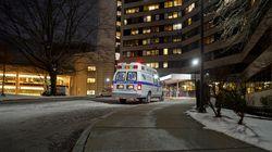 An ambulance outside Rhode Island Hospital in Providence.
