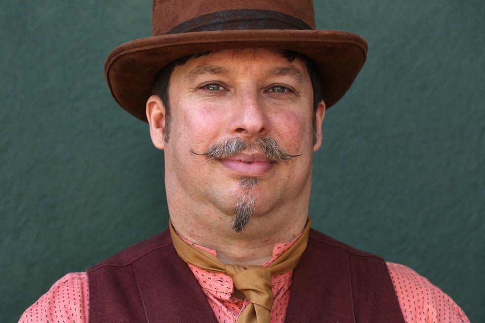 Jeremy Kessler, of Somerville, dressed for a music hall performance at the festival.
