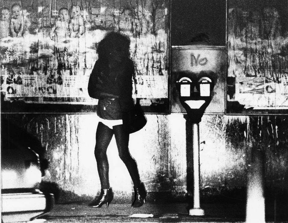 A female worker in the Combat Zone in 1987.