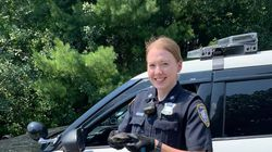 Officer Victoria McVicar helped rescue this turtle that was trying to cross a street in Franklin.