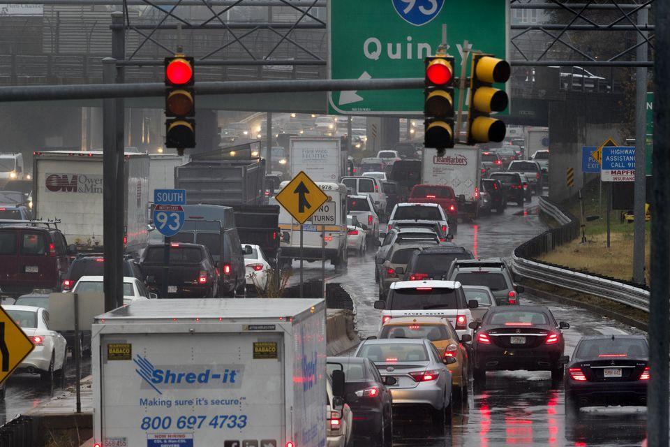 Traffic near South Bay merging onto I-93 South.