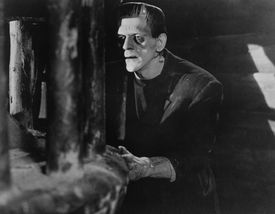 """** FILE ** In this photo released by Universal Studios Home Entertainment, British actor Boris Karloff appears in a scene from the 1931 classic film """"Frankenstein."""" Universal Studio's is unveiling the DVD """"Frankenstein 75th Anniversary Edition,"""" which includes the digitally remastered movie, a biography of star Boris Karloff, plus featurettes about the film's influence and other matters. ( CREDIT: AP Photo/Universal Studios Home Entertainment) ORG XMIT: LA301 Published 10-30-2008: EYE of the beholder Depictions of ugliness, clockwise from above: """"Caricature"""" by Bartolomeo Passerotti; America Ferrera from """"Ugly Betty""""; Boris Karloff from """"Frankenstein""""; and Brian d'Arcy James in """"Shrek the Musical."""" Published 01-23-2010: Photo by George Burns/Harpo ProductionsPhoto by Dave Hogan/Getty Images 31scaryfilms Library Tag 10312010 Arts & Entertainment Library Tag 10032011"""