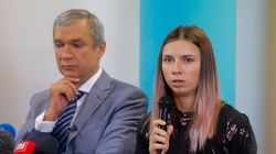 """Belarusian Olympic sprinter Tsimanouskaya said she was """"happy to be in safety"""" in Warsaw, a day after arriving in Poland.The 24-year-old athlete has been at the center of a diplomatic drama since seeking the protection of Tokyo 2020 staff on Sunday, saying her team was trying to bundle her onto a plane after she publicly criticized her coaches. (Photo by WOJTEK RADWANSKI/AFP via Getty Images)"""