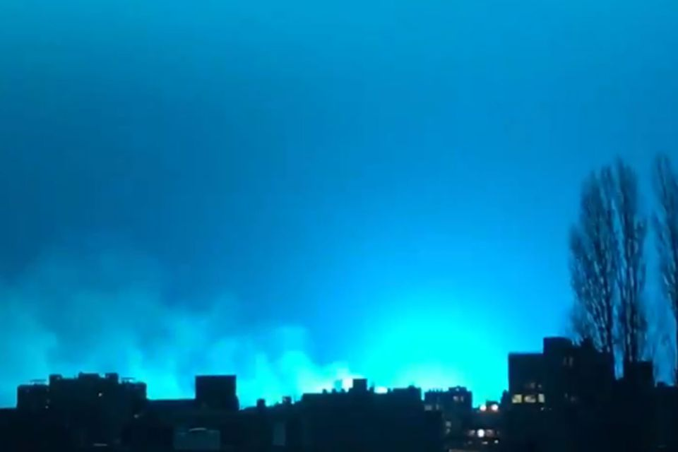 On Thursday night in Queens, the night sky was an eerie, azure blue.