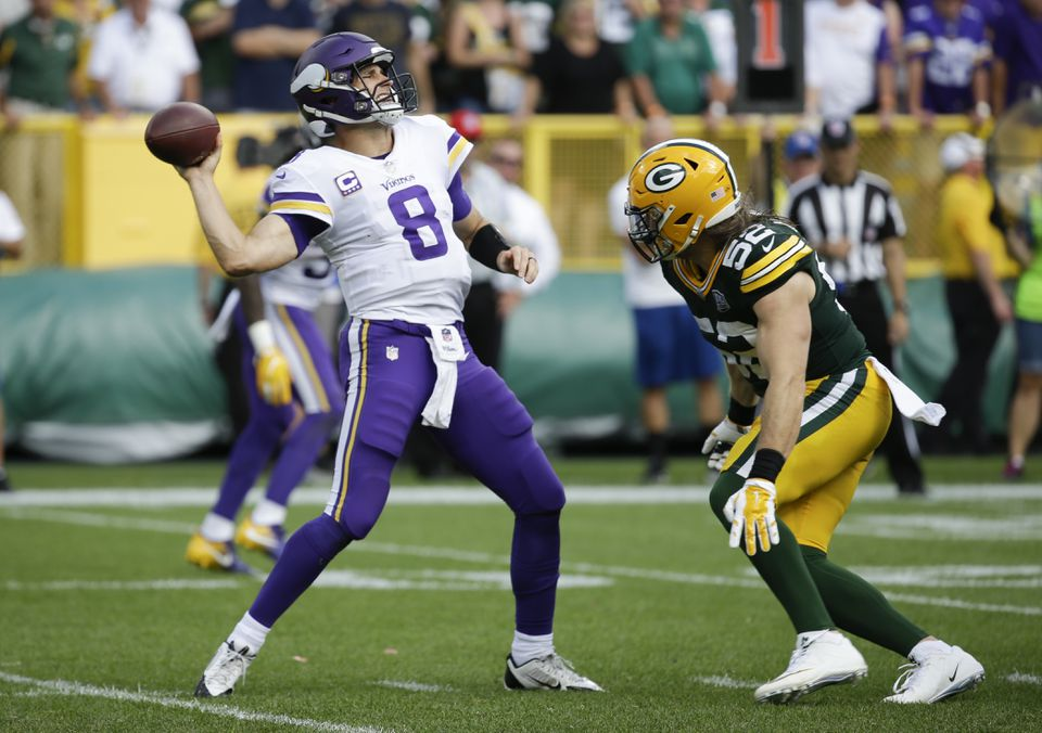 Clay Matthews of the Packers lined up the Vikings' Kirk Cousins for a sack that resulted in a highly questionable roughing the passer penalty.