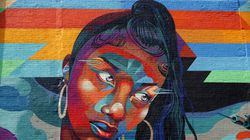 """""""Garden of Journey"""" a nationally-renowned muralist based in North Carolina. Her new mural in Providence, """"Salt Water,"""" fits into her style of Afrofuturism, a cultural aesthetic and philosophy that explores the African American experience and African diaspora through a science-fiction and fantasy lens."""