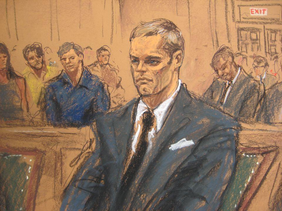 Jane Rosenberg's sketch of Tom Brady during Monday's court appearance.