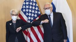 """US Deputy Secretary of State Wendy Sherman and Russian Deputy Foreign Minister Sergey Ryabkov greeted each other at the start of their meeting in Geneva, Switzerland on Wednesday. Sherman and Ryabkov held what the State Department described as """"substantive and professional"""" talks on arms control and other strategic issues on Wednesday despite myriad other differences that have sent relations into a tailspin."""