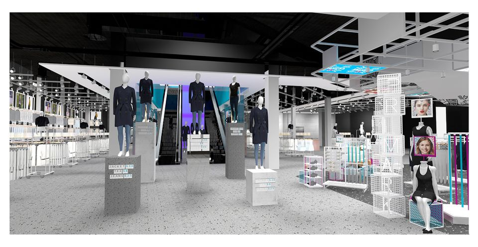 A rendering of the sales floor on the first level.