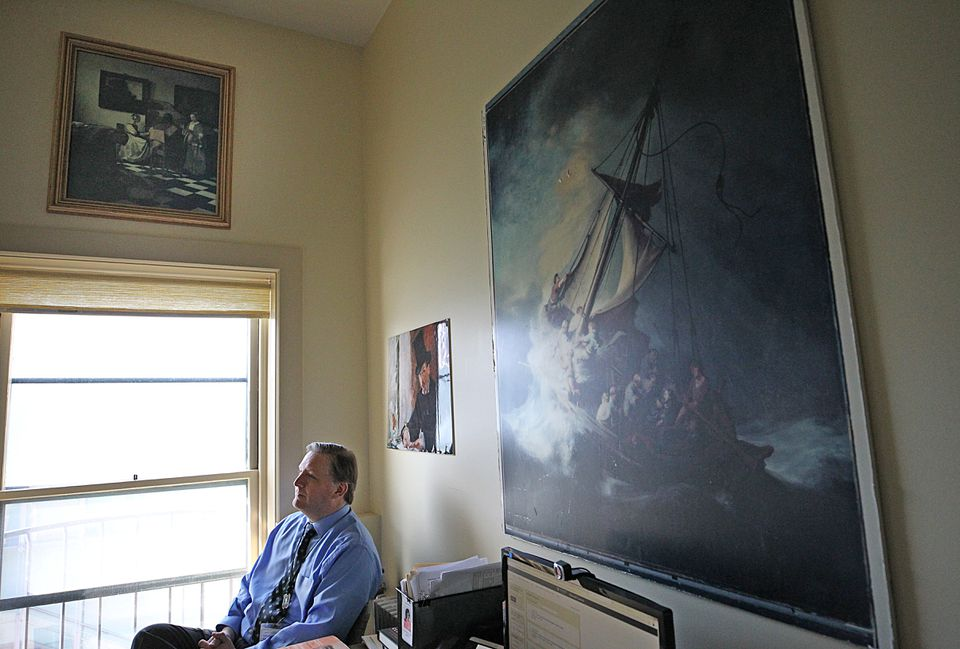Boston, MA., 02/19/2019, Anthony Amore is the security director of the Isabella Stewart Gardner Museum in his office, which reflects his all-consuming quest to recover the masterpieces stolen decades ago. His office has reporductions of the the lost artwork, including a photograph of the painting The Storm on the Sea of Galilee by Rembrandt. Globe staff/Suzanne Kreiter