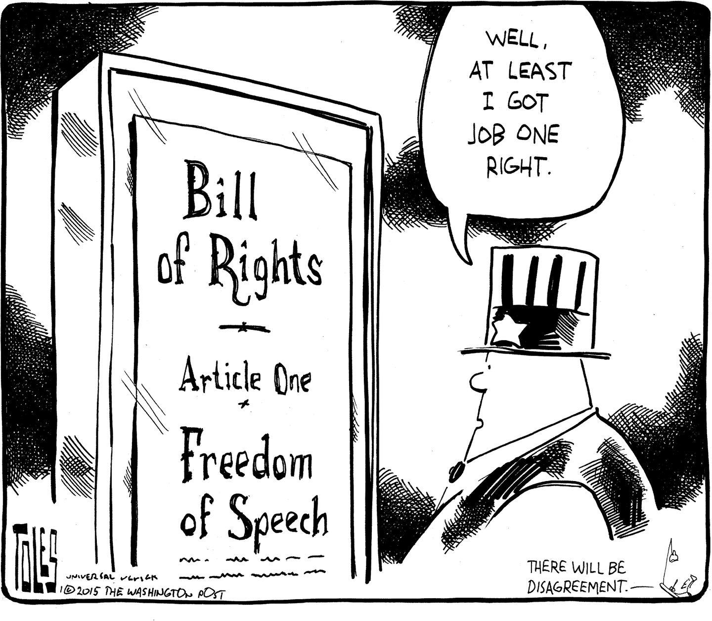 Editorial Cartoon Free Speech The Boston Globe