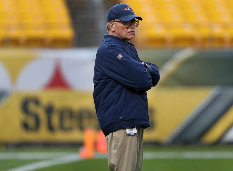 Patriots football research director Ernie Adams was out on the field early checking out the scene as well as the turf conditions.