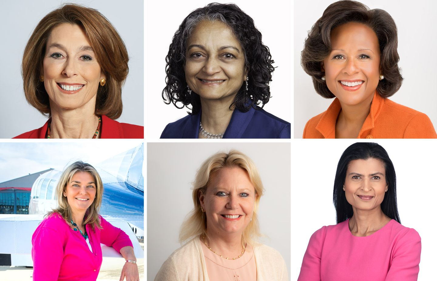 Top row, from left: Dr. Laurie H. Glimcher, of Dana-Farber Cancer Institute; Geeta Aiyer, of Boston Common Asset Management; and Dr. Paula A. Johnson, of Wellesley College. Bottom row, from left: Linda Markham, of Cape Air; Jackie Fouse, of Agios Pharmaceuticals, and Sam King, of Veracode.