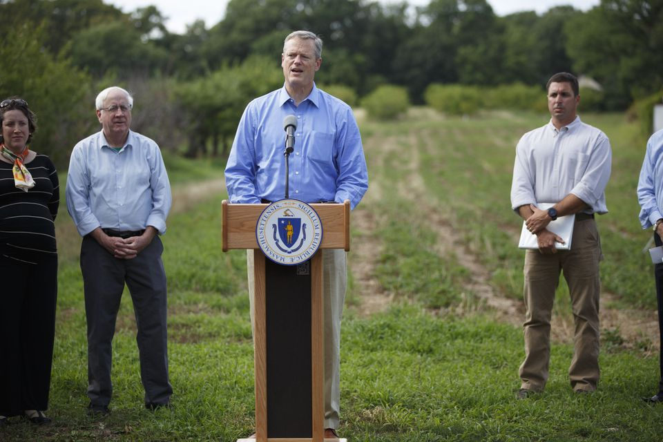 Massachusetts Governor Charlie Baker held a press conference at Smolak Farms in North Andover regarding the widespread and worstening drought hitting the state.