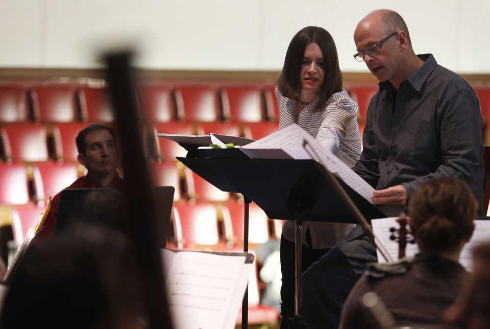 Kati Agócs with Boston Modern Orchestra Project's Gil Rose at a rehearsal of her new piece.