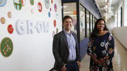 Cofounders Jason Kelly and Reshma Shetty pose for a portrait inside Ginkgo Bioworks.