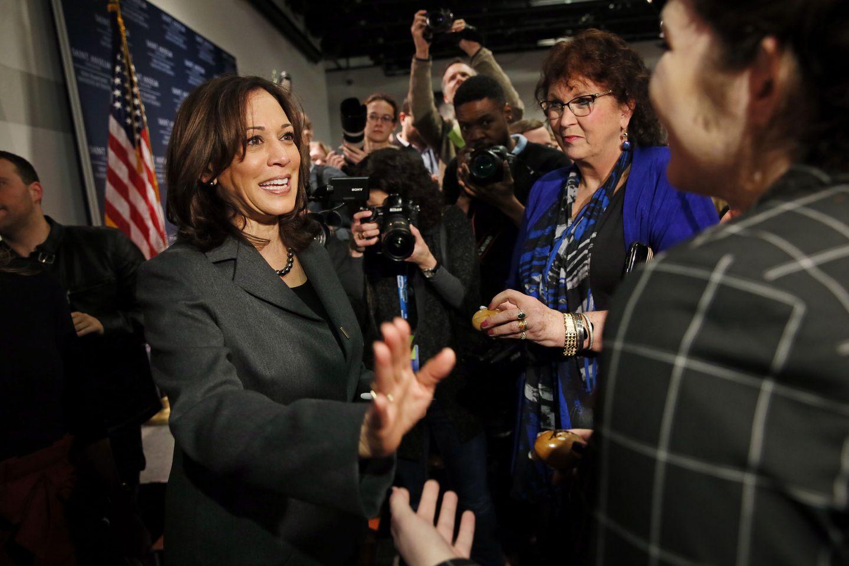 Senator Kamala Harris of California campaigns in Mancheser, New Hampshire, in February.