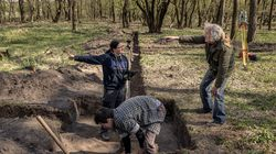 An archaeological excavation in the Czech Republic at Lany, near the border with Austria, on April 24, 2021, a few yards from where a bone scratched with Germanic runes was found.
