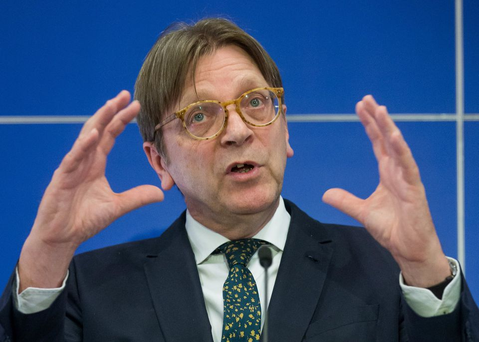 Guy Verhofstadt, European Parliament coordinator for Brexit, spoke during a joint press conference at the EU Parliament on March 29 in Brussels, Belgium.