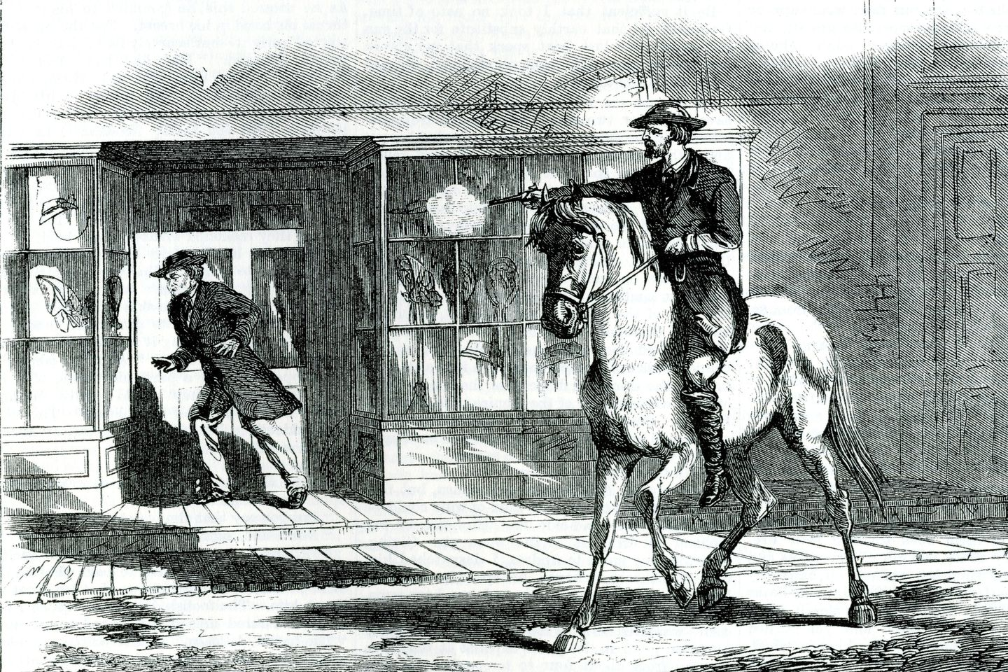 An old editorial illustration depicts Elinus Morrison               being shot outside Miss Beattie�s Millinery Store by               either Lt. Bennett Young or fellow raider Almanda Pope               Bruce. The building is across from St. Albans City Hall.               Morrison, 55, a contractor from Manchester, N.H., was in               town on a construction project at the Welden House at the               corner of Bank Street and Maiden Lane, just behind the               building where he was shot. Morrison died two days later,               the only known fatality of the raid. Coincidentally it was               said of Morrison that he was �the only southern               sympathizer in town.� He left a widow and five children               and was buried in his hometown.               CREDIT: VERMONT HISTORICAL SOCIETY (these images               originally appeared in Frank Leslie's magazine)