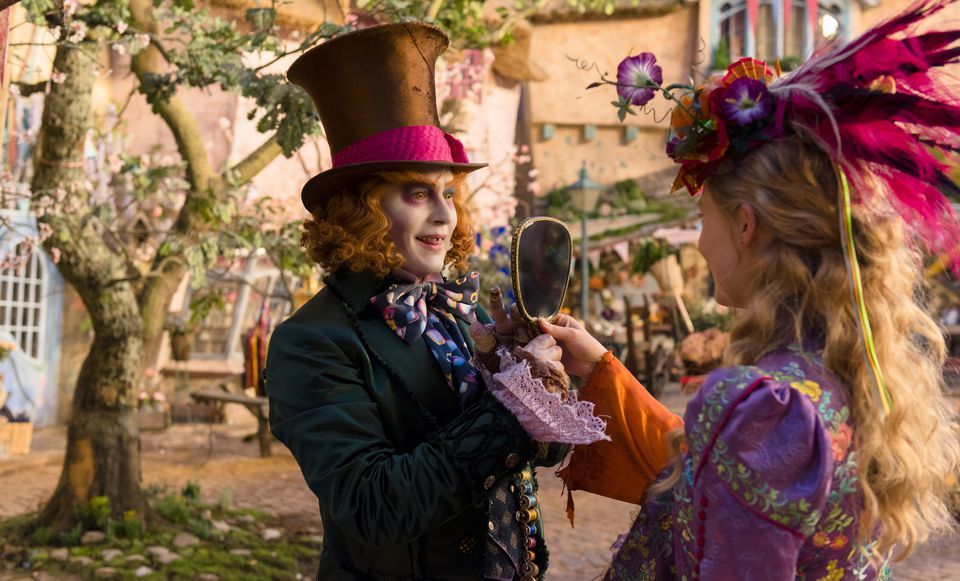 "Johnny Depp and Mia Wasikowska in ""Alice Through the Looking Glass."""