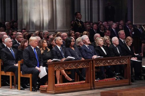 Former Presidents Gather For Bush Funeral Trump An Outlier The Boston Globe