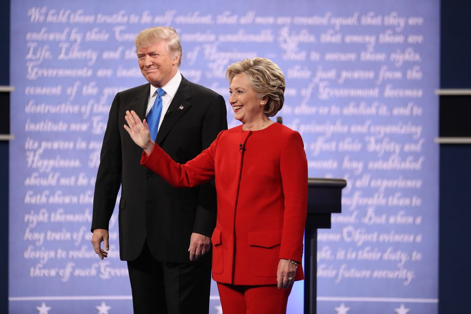Hillary Clinton and Donald Trump taking the stage for their first presidential debate, at Hofstra University,  in Hempstead, N.Y., Sept. 26.