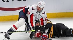 Zdeno Chara (left) tangled with Patrice Bergeron in Chara's first game at TD Garden with the Capitals in March.