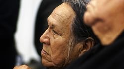 Chief Leonard Crow Dog listened during an orientation at Sitting Bull College in Cannon Ball, N.D., in 2016.