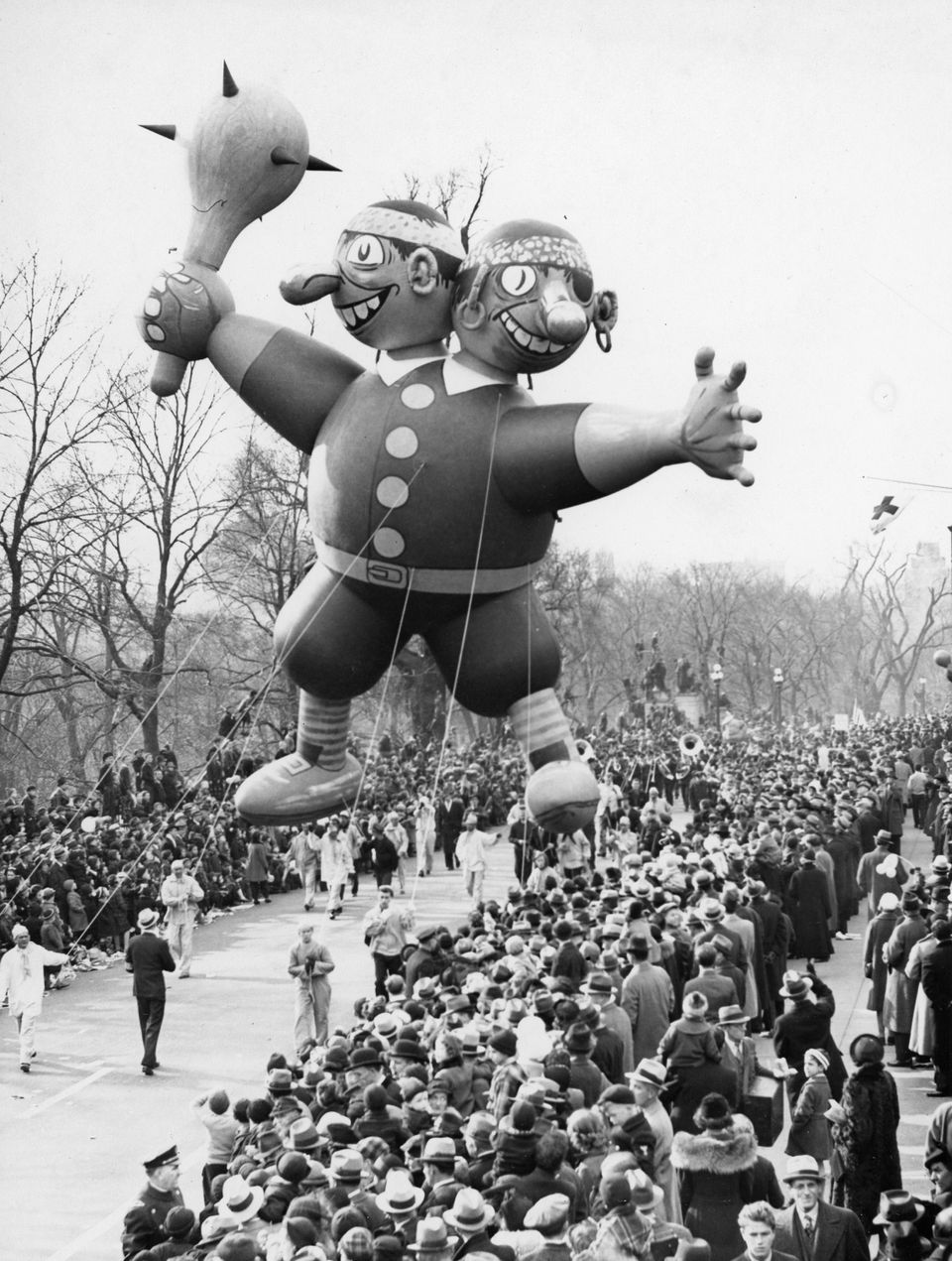 The two-headed pirate balloon traveled along the route during the Santason parade in Boston on Thanksgiving Day, Nov. 25, 1937.