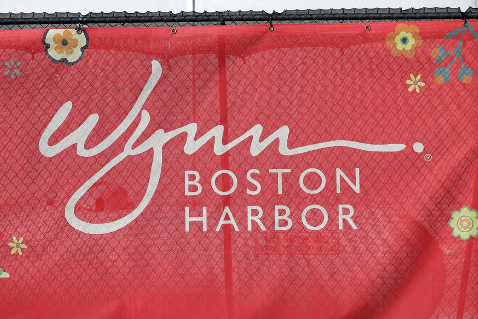 A Wynn sign at the casino under construction in Everett.