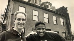 Larry Katz (left) and Maurice Starr outside Starr's home in Roxbury, circa 1987.