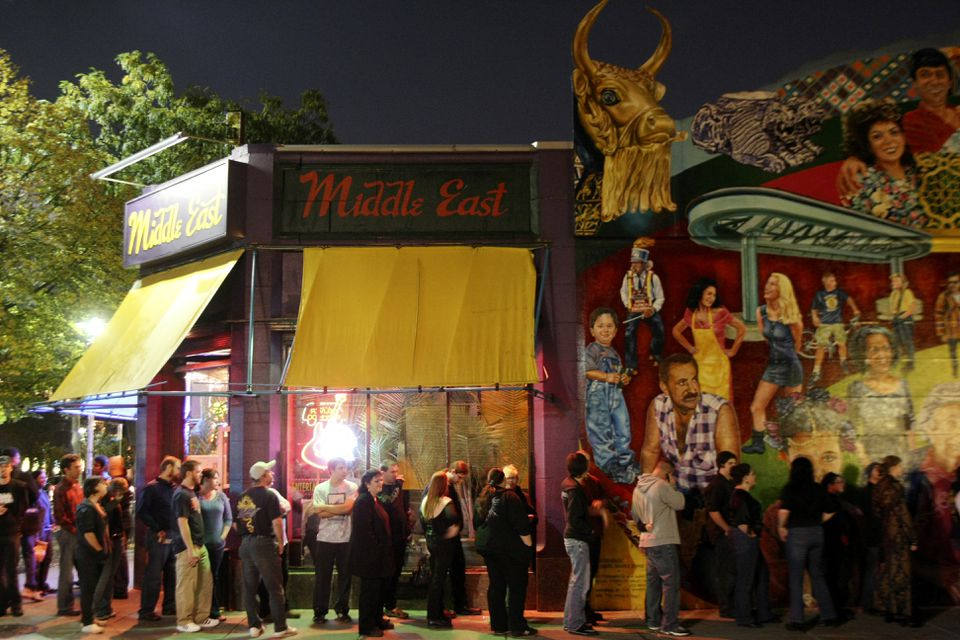 Patrons lined up outside the Middle East in Cambridge in 2008.