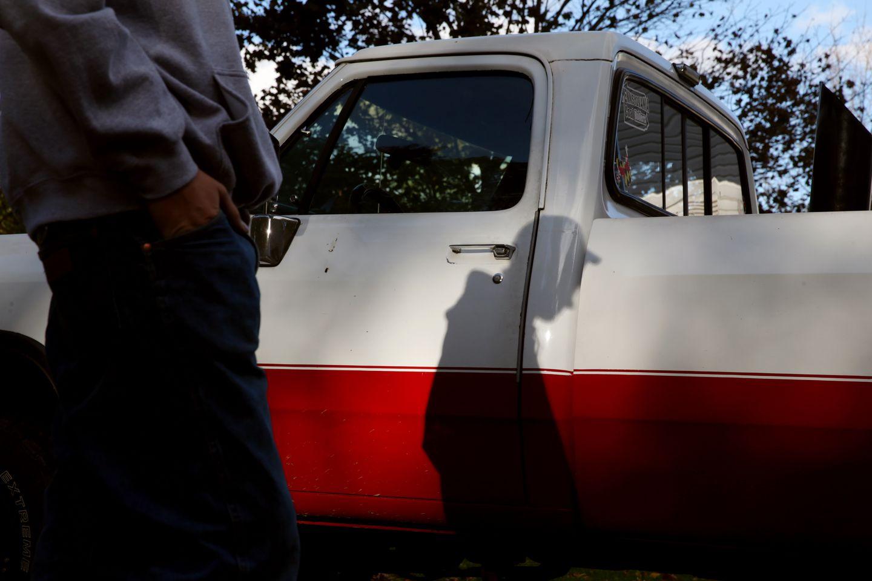 Dalton Lesley, a junior, spoke in his driveway near his truck.