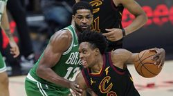 In his return to Cleveland, Tristan Thompson (left), who played his first nine seasons with the Cavaliers, guards Collin Sexton Wednesday night.