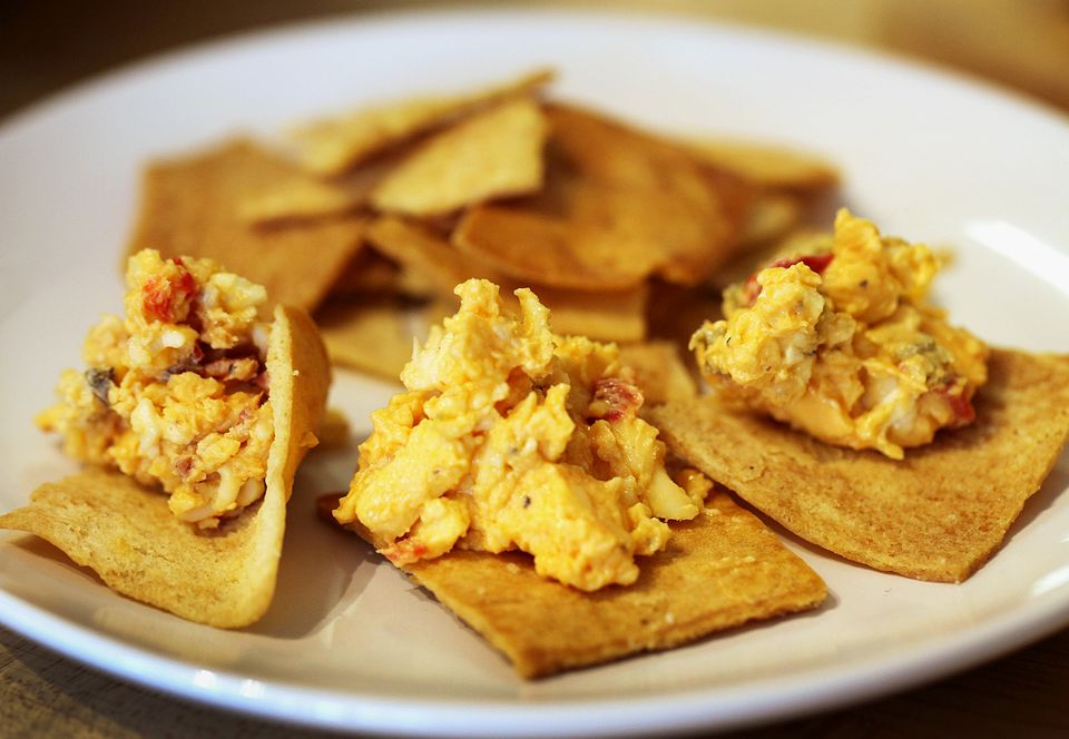 Varieties of Queen Charlotte's Pimento Cheese Royale include (from left) bacon, original, and jalapeno.